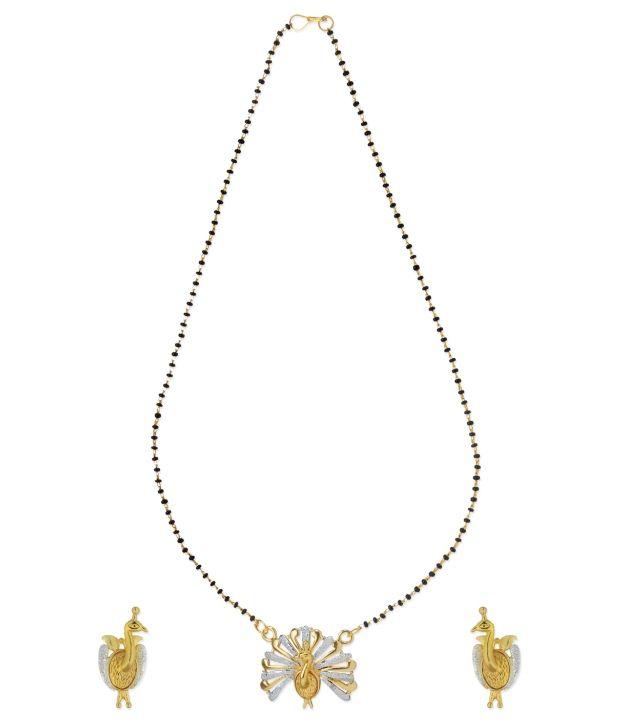 Aradhyaa Jewel Arts Golden and   Silver Peacock Mangalsutra
