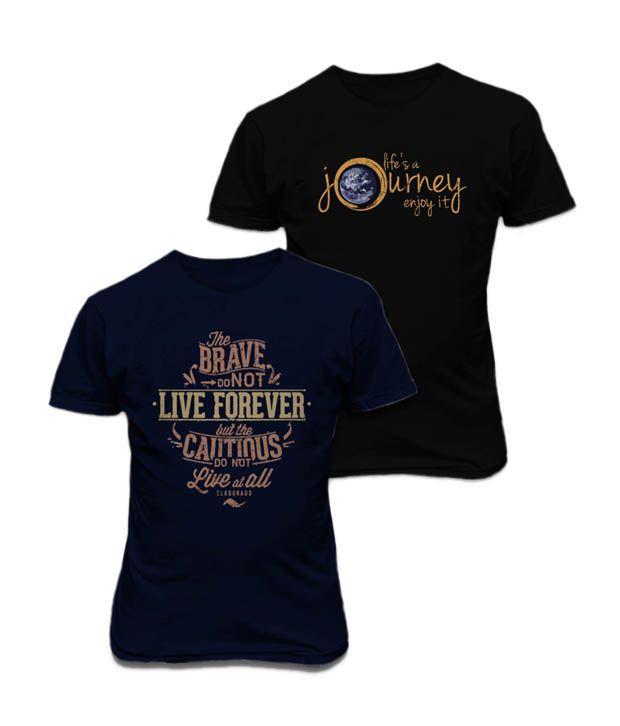 Elaborado Pack of 2 Black & Navy Trendy T Shirts