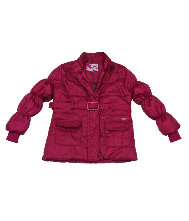Sportking Dark Pink Full Sleeve Jacket With Belt For Kids