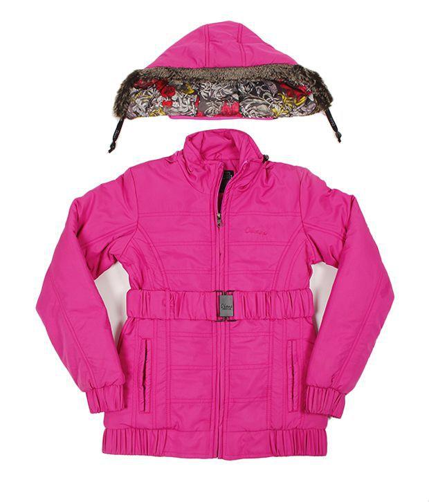 Okane Exclusive Pink Hooded Jacket For Kids