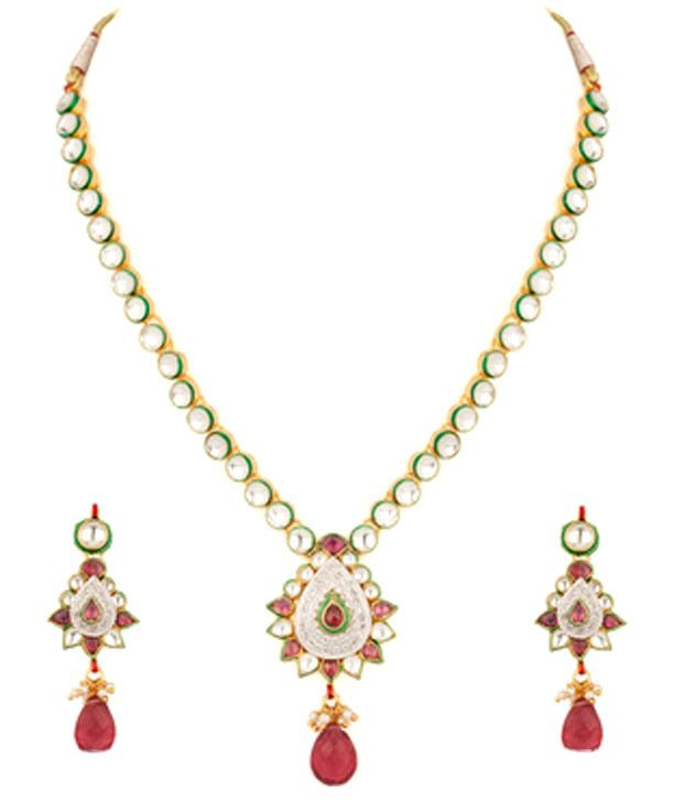 Voylla Drop Style Gold Plated Kundan Necklace Set