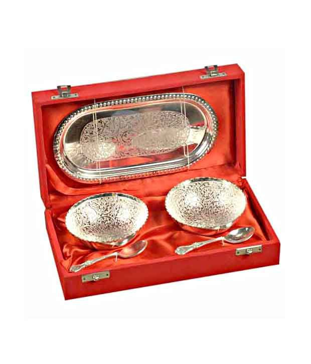 Indian Arts Shop Two Small Bowls & Spoons Set with Tray