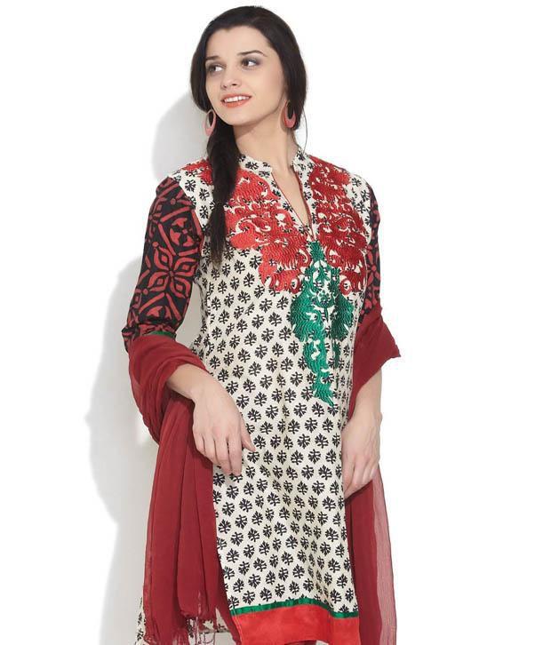 SHREE Beige Embroidered Cotton Kurti
