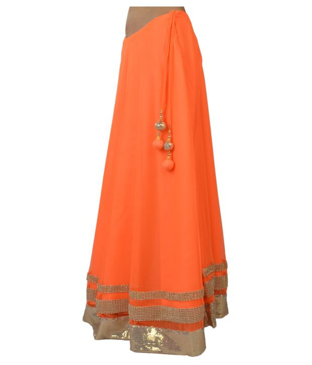 Buy 9rasa Orange Net Long Skirt Online at Best Prices in India ...