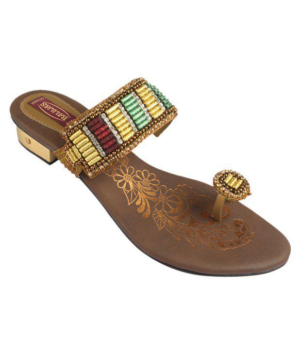 Balujas Antique Gold Block Heels