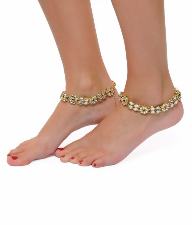 ShinningDiva Floral Golden Coloured Pair of Anklet