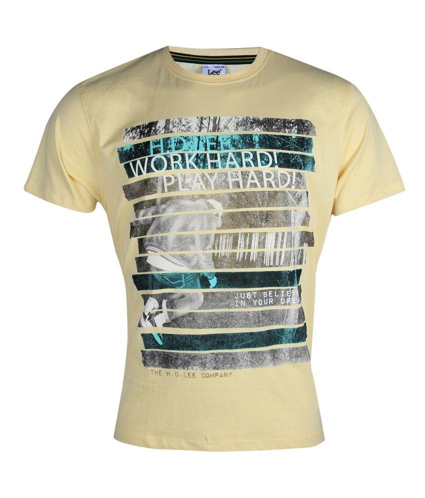 Lee Cooper Originals Cream Printed T-Shirt
