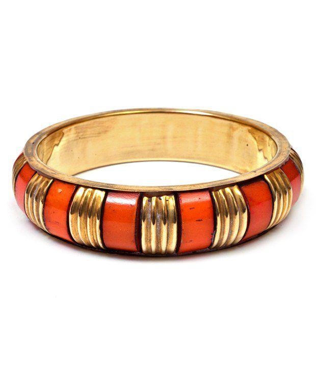 Trendy Baubles Broad Orange & Gold Bangle