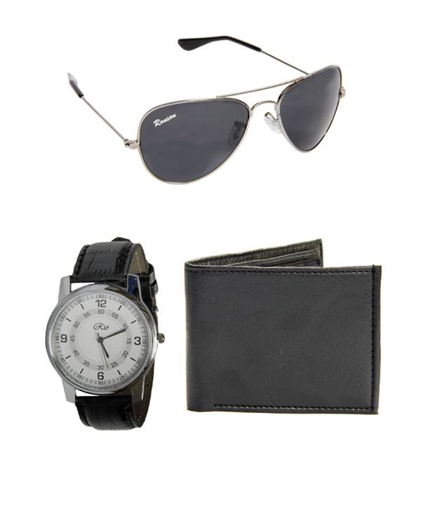 Pack of 3 Gentleman Wallet,Wrist Watch & Sunglass