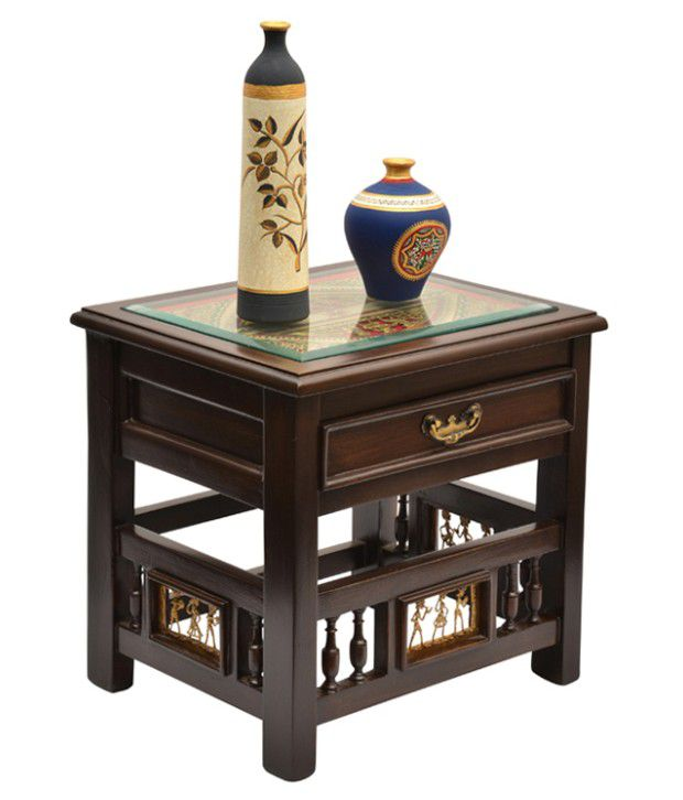ExclusiveLane Teak Wood Bed Side Drawer Table With Dhokra And Warli Work