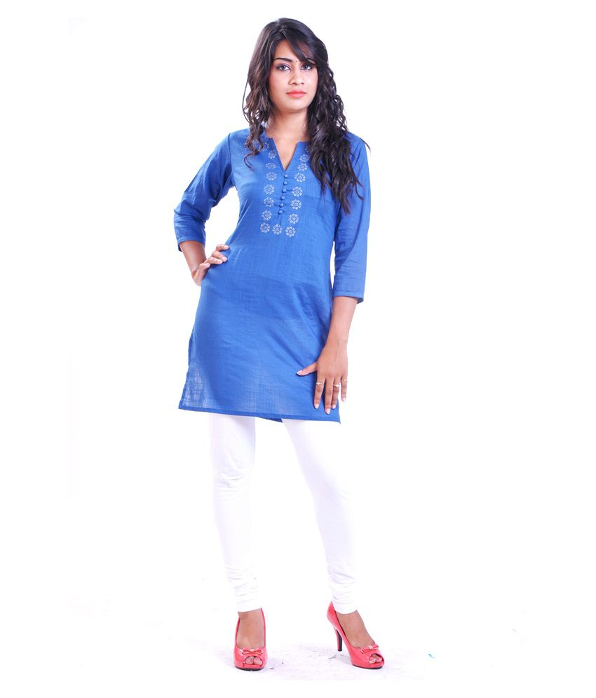 Afsana Beautiful Navy Cotton Kurti