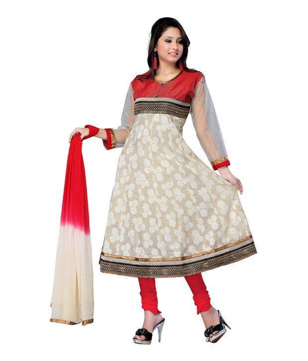 Fabdeal Cream Color Chanderi Silk Semi-Stitched Suit