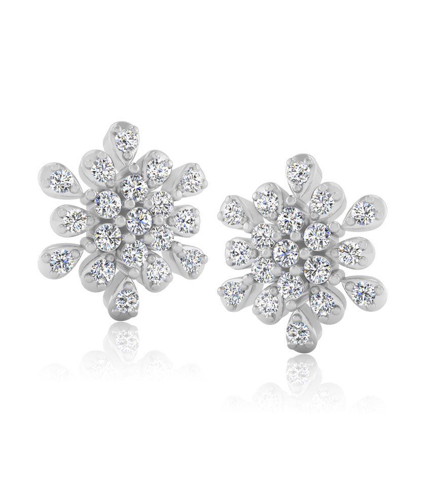 Forever Carat Real Diamond Lovable 925 Sterling Silver Earrings