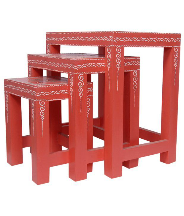 Kings Kraft Red Painted Wooden Nested Tables Set Of 3