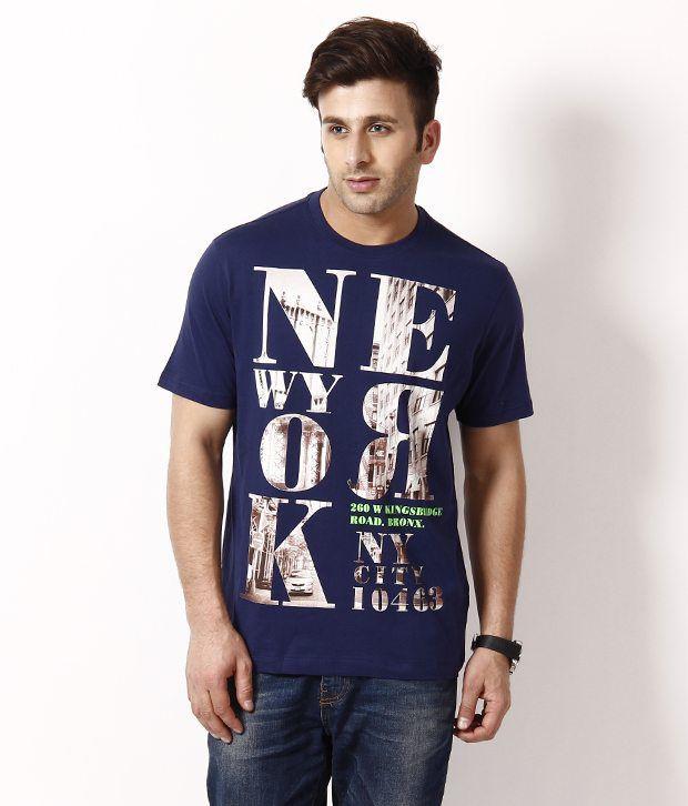 Octave Attractive Dark Blue T  Shirt