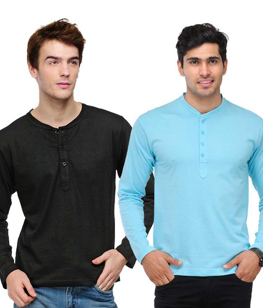 TSX Black & Sky Blue Full Sleeves T-Shirts Pack of 2