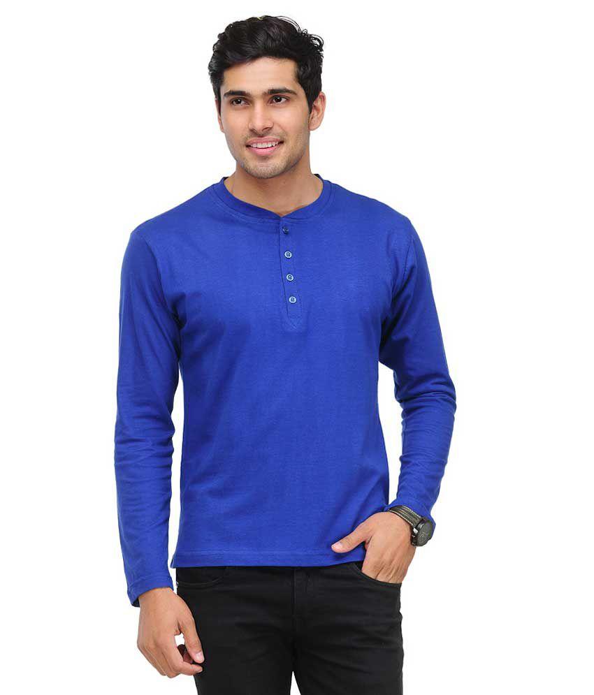 TSX Henley Full Sleeves Blue T-Shirt