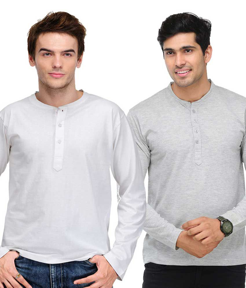 TSX White & Grey Full Sleeves T-Shirts Pack of 2