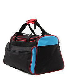 WalletsnBags Black & Blue Duffle Bag