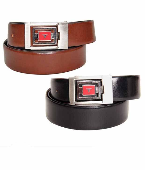 Bulchee Designer Buckle Black & Brown Reversible Belt