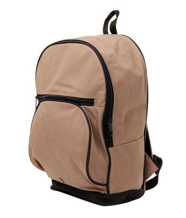 WalletsnBags Beige & Black Backpack