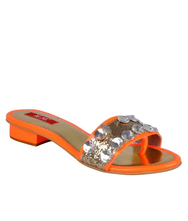 HM Studded Vivid Orange Slip-on Flats