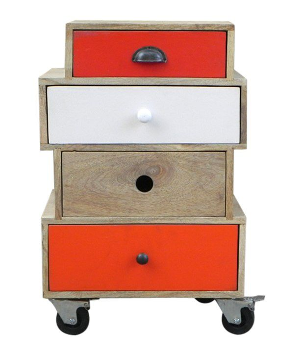 Wooden 4 Drawer Bedsider (With Wheels)