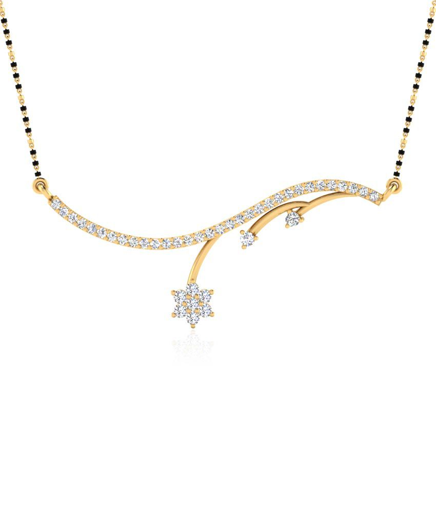 Forever Carat 0.35 ct Real Diamond Mangalsutra in 100% Certified 925 Sterling Silver