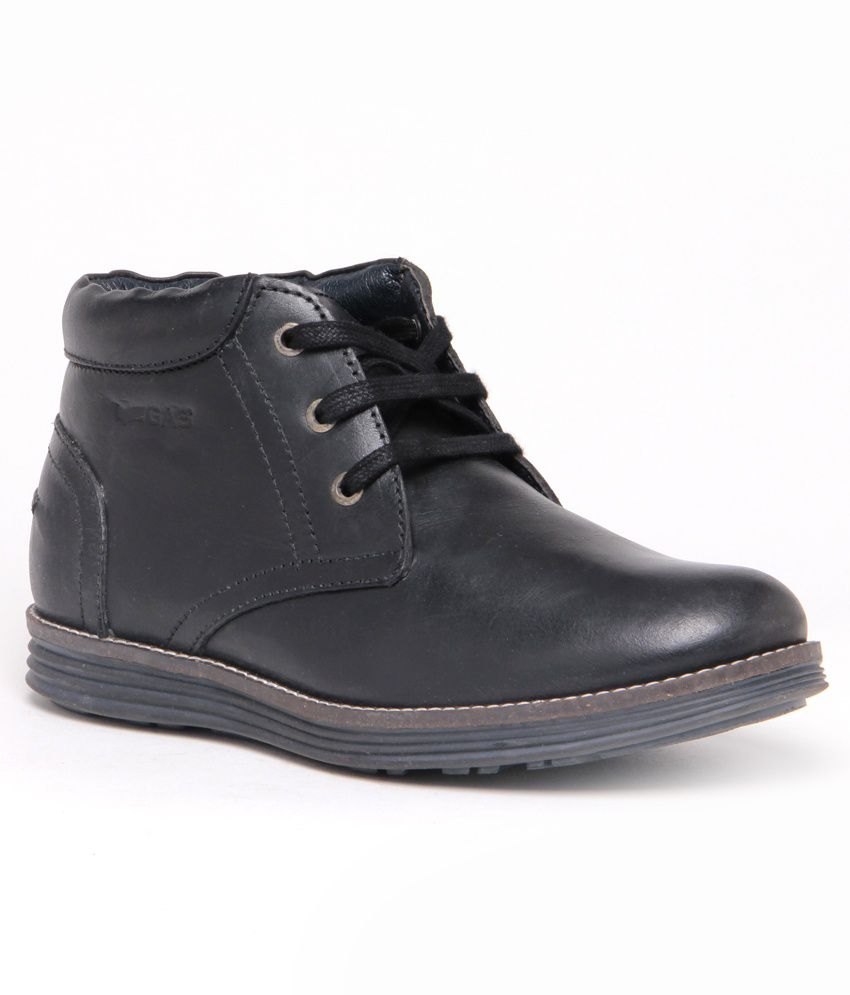 8ec619db751 Buy GAS Ankle Length Black Leather Casual Shoes 2358038 for men ...