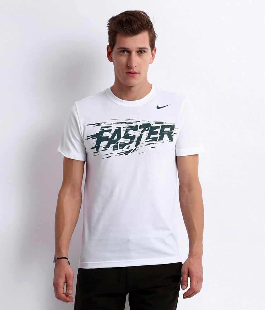 Nike White Faster Cotton Blend T-shirt