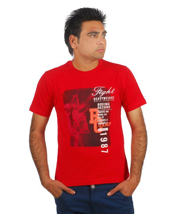 Sportking Red Fight Printed T Shirt