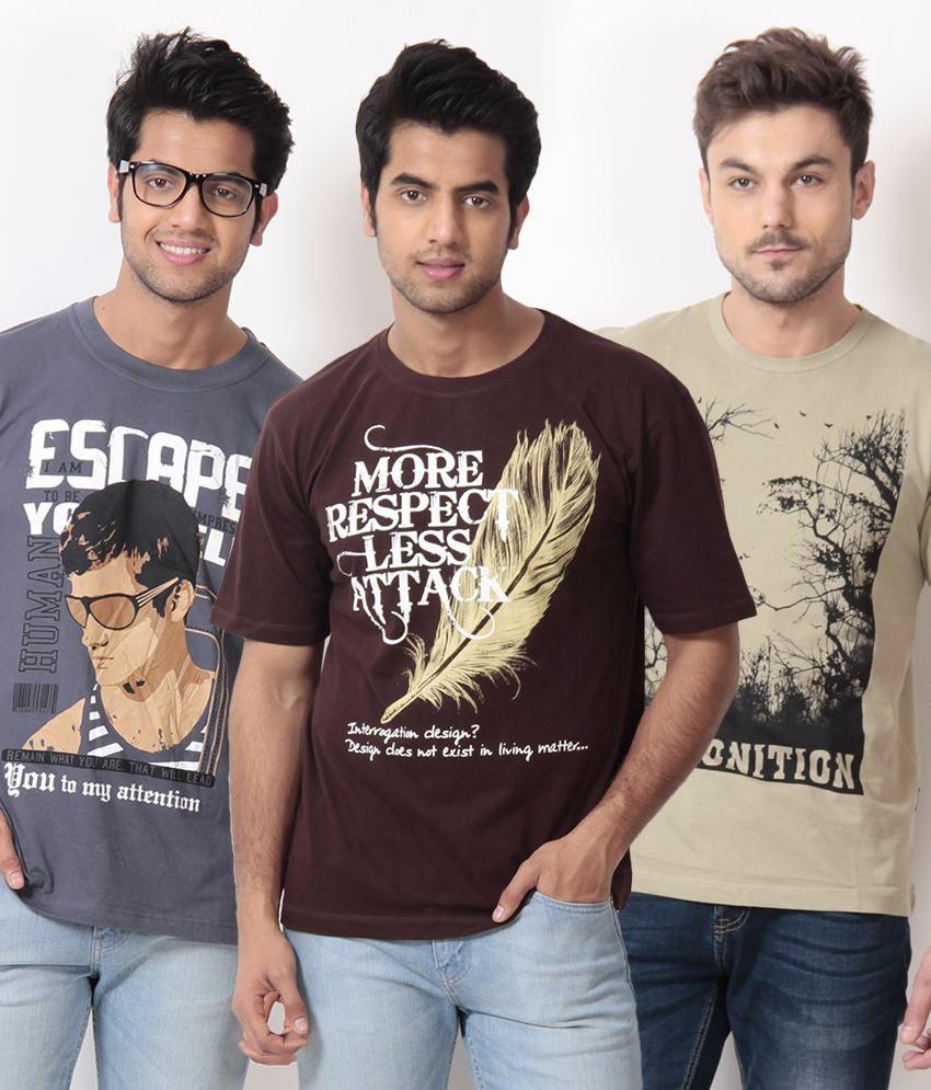 TSG Escape Blue-Brown-Khaki Pack of 3 Cotton T Shirts