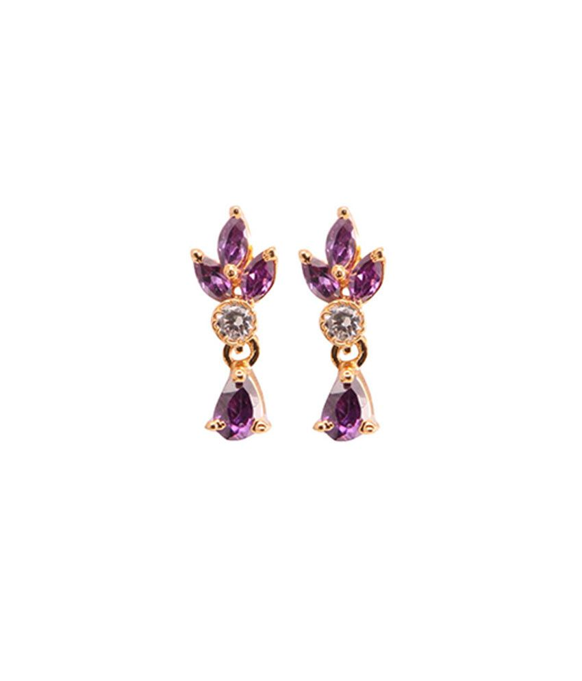 VaRaaGk Stylish Purple Stone Ear Drops with a White Stone for Women