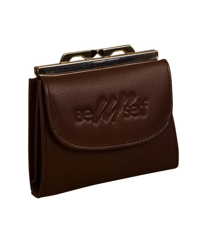 eZeeBags Brown Leather Frame Purse