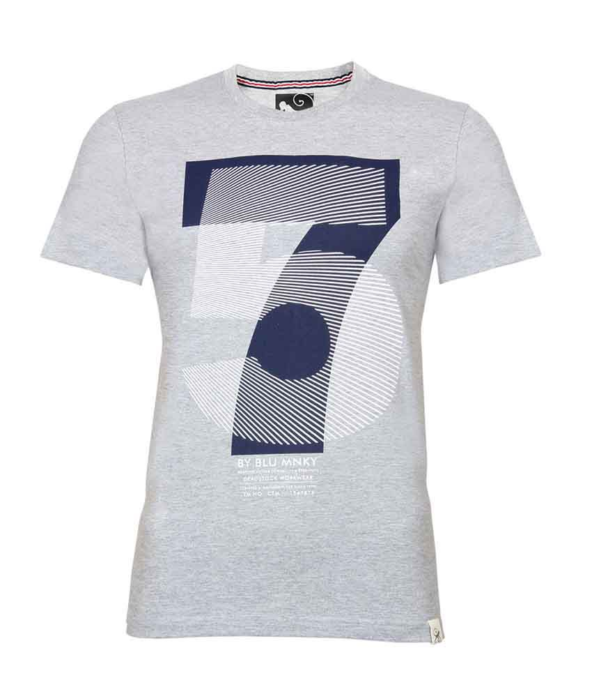 Blue Monkey 75 High Density Grey Printed T-shirt