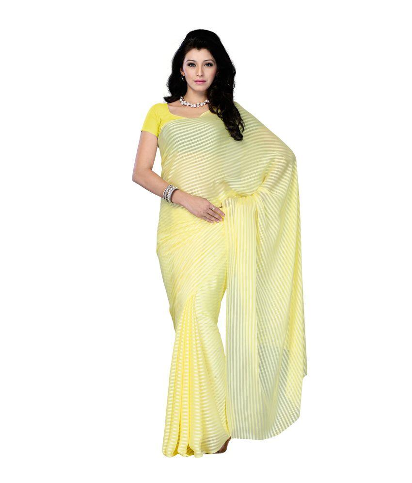 Diva Fashion Surat White Faux Georgette Casual Office Wear Fancy Saree Buy Diva Fashion Surat