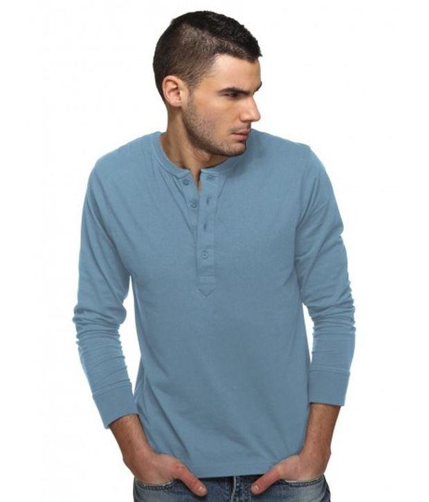 Freecultr Smart Steel Blue Henley T Shirt