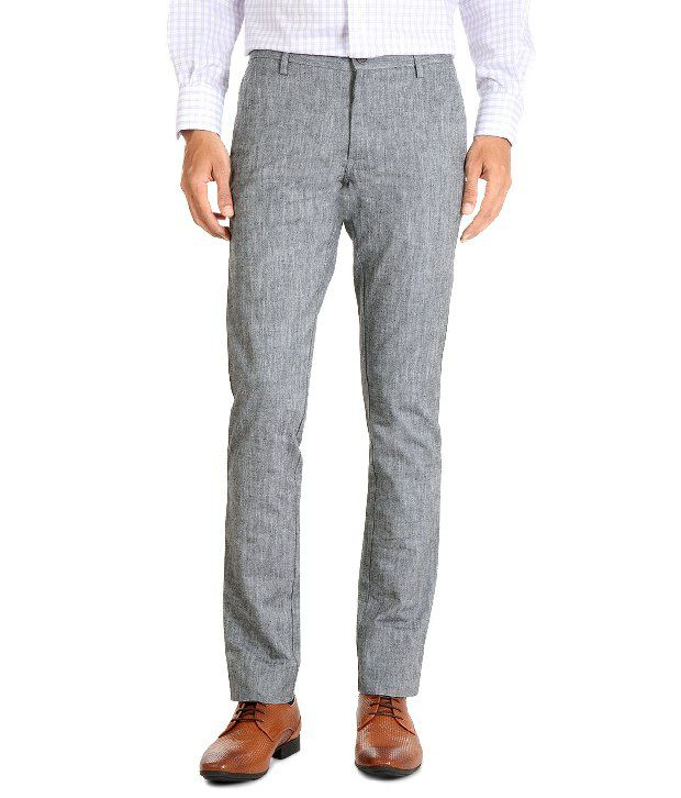Allen Solly Gray Cotton-Lycra Blended Trousers