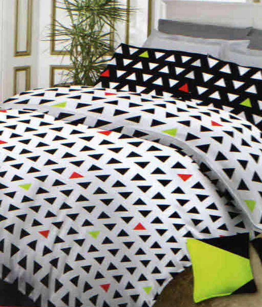 Bombay Dyeing Neon Dots King Size Bed Sheet Set With 2 Cushion Covers ...