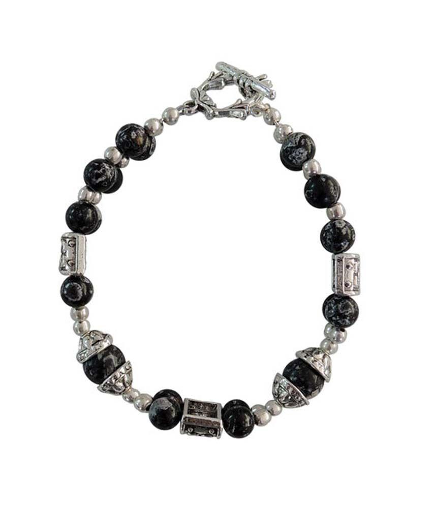 Pearlz Ocean Mosaic Gemstone 8 Inch Clasp Bracelet-Black