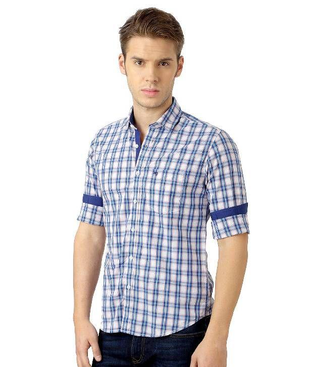 350cf0b5b Peter England Blue Casual Slim-Fit Checkered Shirt - Buy Peter ...