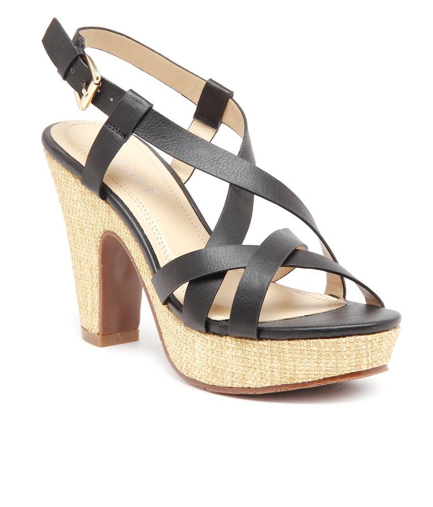 Urbane Stylish Black Cone Heel Sandals