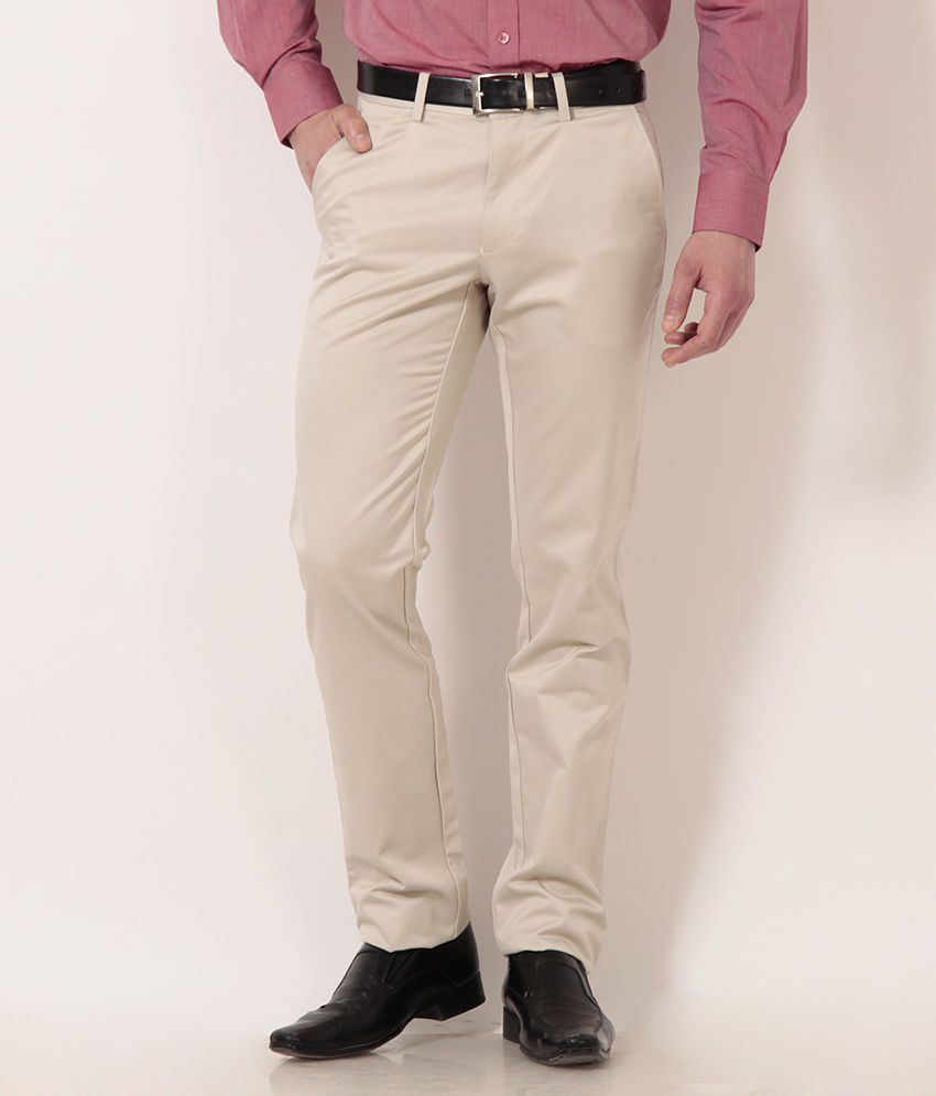 Peter England Beige Formal Trousers