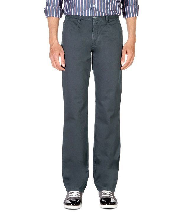 Peter England Blue Regular Fit Cotton Trousers