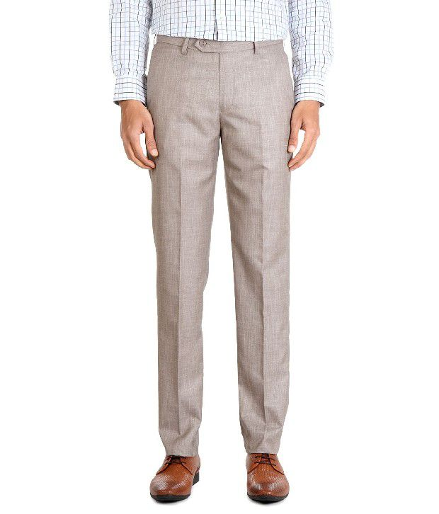Peter England Brown Casual Regular Fit Trousers
