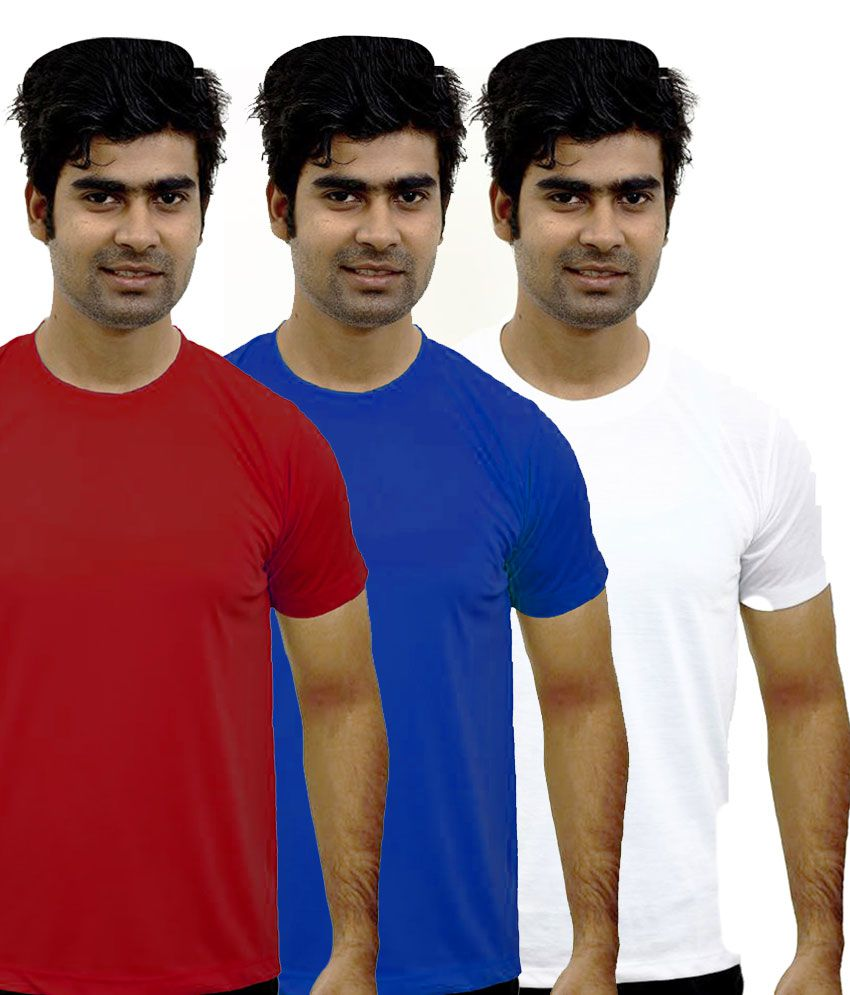 Shopping Monster Combo of 3 Premium Round Neck T-shirts - Royal Blue, Red & White