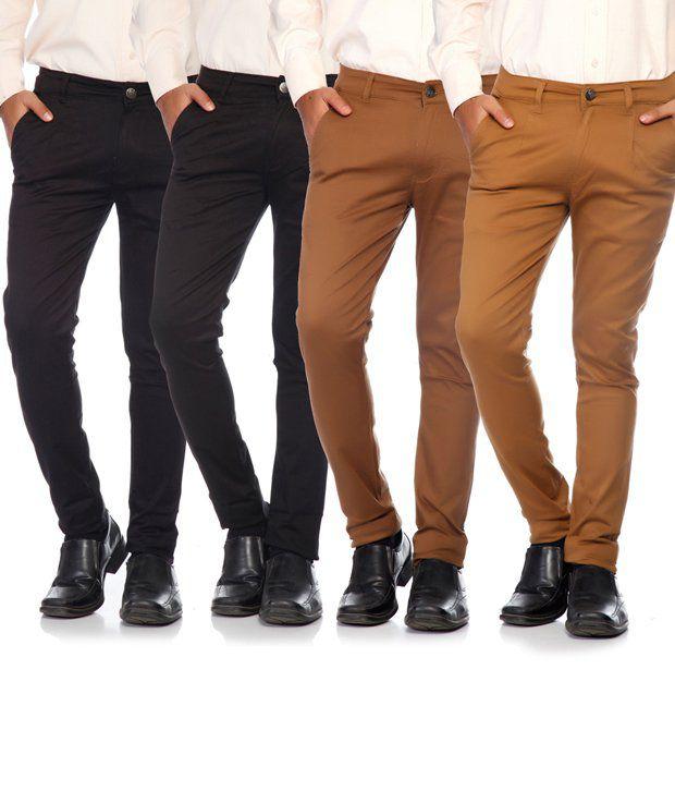 SAM & JAZZ Multi-Coloured Cotton Lycra Combo of 4 Men's Chinos