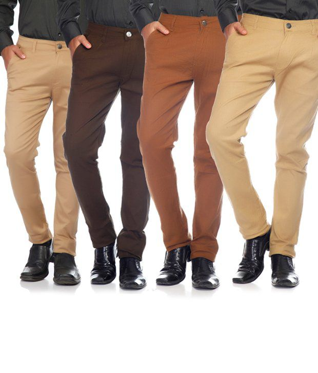 SAM & JAZZ Multi-Coloured Cotton   Lycra Combo of 4 Men's  Chinos