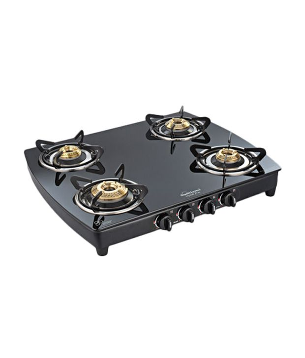 Sunflame Crystal Plus 4B-BK AI Toughened Glass Gas Cooktop