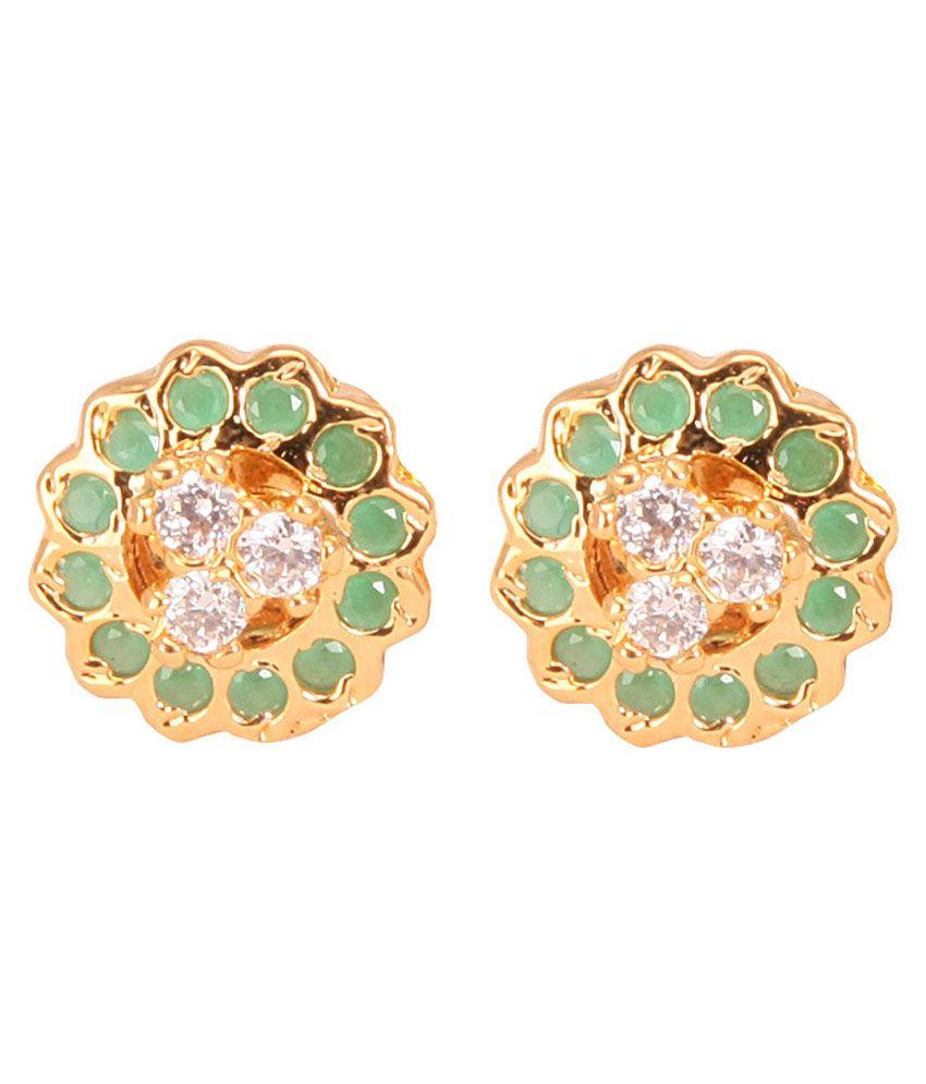 VaRaaGk Elegant Ethnic Stud with Emerald & White Stones For Women